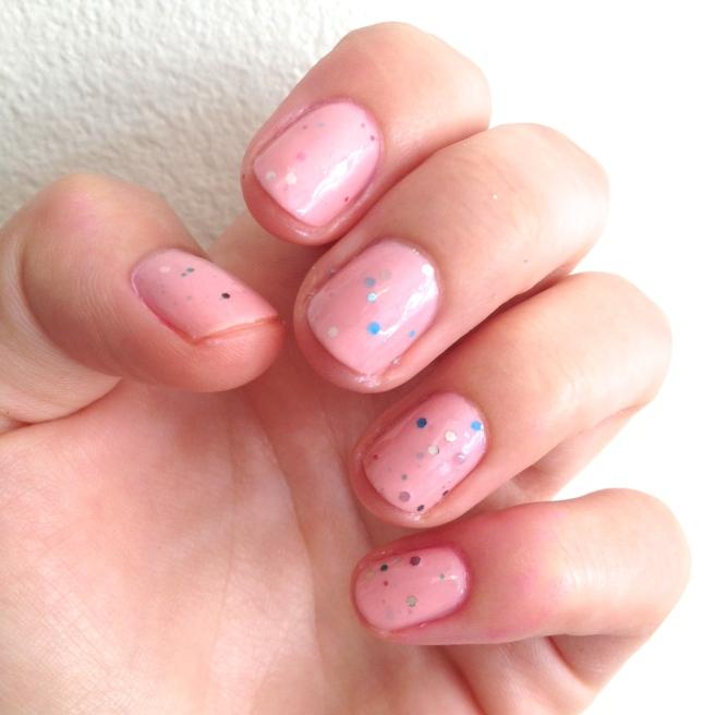 pink sparkle manicure