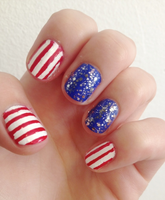 red white and blue manicure