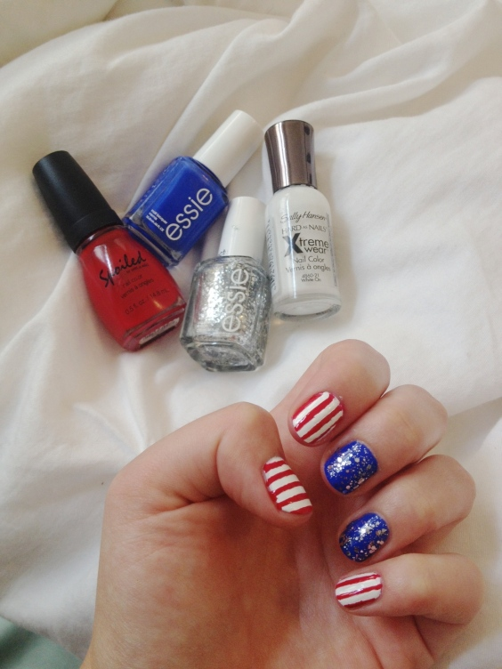 red white and blue patriotic manicure